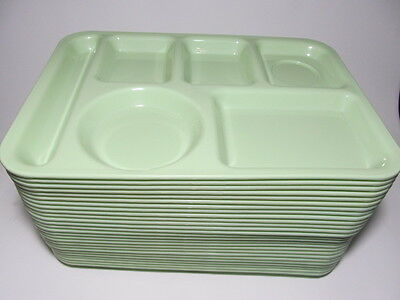 26 Melamine 6-Compartment CAFETERIA MEAL SERVING TRAY LOT Green Lunch School Vtg