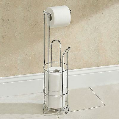 Stainless Steel Free Standing Bathroom Toilet Roll Storage Holder Rack Stand New