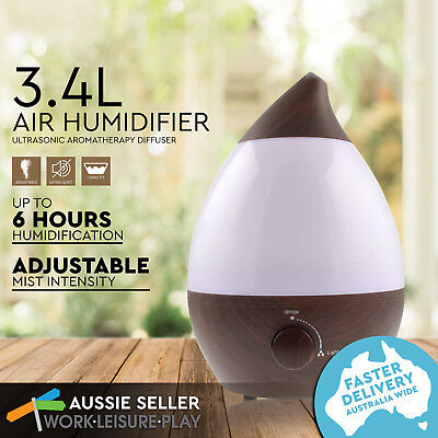 3.4L Air Humidifier Ultrasonic Aroma Diffuser Nebuliser Purifier LED Light Walnu