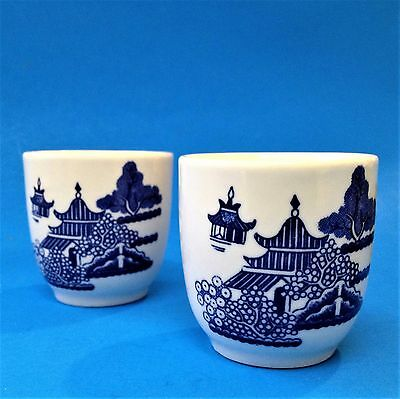 2 x Churchill, England - Blue Willow Pattern Egg Cups - Perfect Condition
