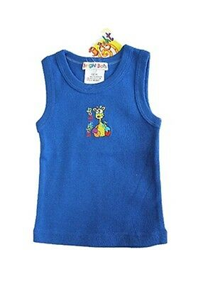 Size 00 - Bright Bots Baby Boys Deep Blue Singlet Tank Vest Sleeveless top