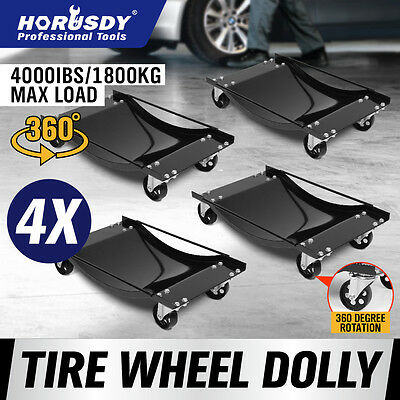 4x Heavy Duty Wheel Dolly Car Mover Vehicle Positioning Jack Transporter Trolley