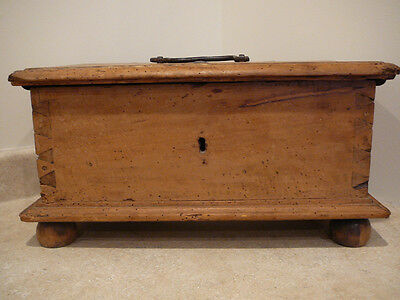 S20 Antique Dowry Document Chest Box Trunk Bun Feet Worm Holes Hand Forged Iron