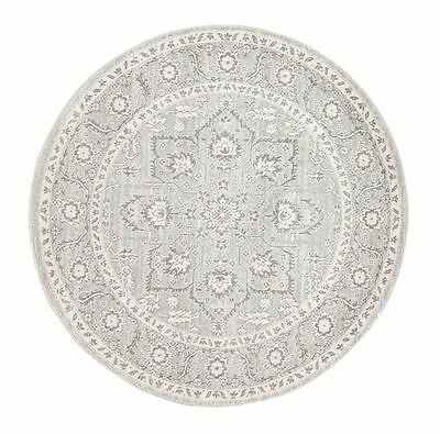 New Round Floor Rug Carpet Traditional Modern Carpet Design Assorted Size Silver