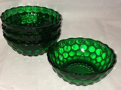 "4 Anchor Hocking BUBBLE FOREST GREEN *4 1/2"" FRUIT BOWLS*"
