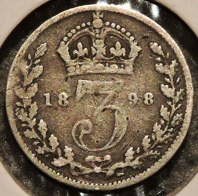 British Silver Threepence - 1898 - Queen Victoria - $1 Unlimited Ship