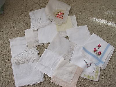 15 WHITE VINTAGE WEDDING HANKIES Lot MADEIRA Linen French Lace