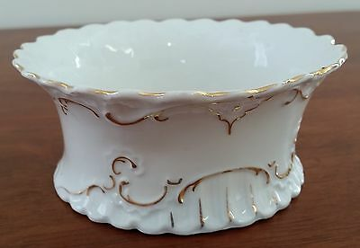 Early 20th Century WHITE Porcelain GOLD Leaf Scallop Edge Sugar Sweet Bowl