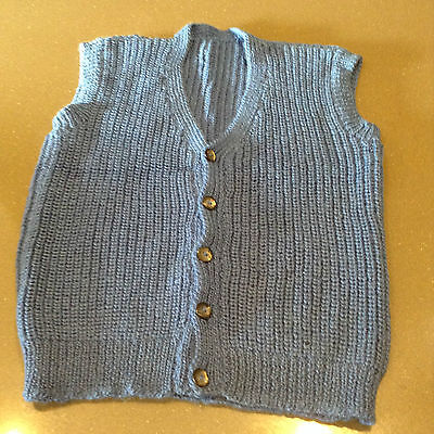 Hand Knitted 100% Wool Button Up Vest