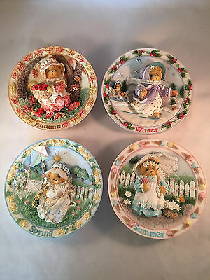 Set of Cherished Teddies Four Seasons Plate Collection 3-D From 1996 Enesco