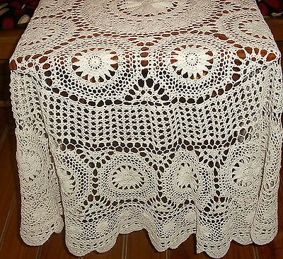 Vintage Ecru Crochet Tablecloth with Medallions