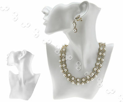 White Chain Jewelry Pendant Earring Bust Stand Display Holder