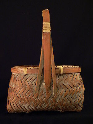 IKEBANA BASKET Antique Vtg Oval Old CHINESE Japanese Woven Handle Asian Estate
