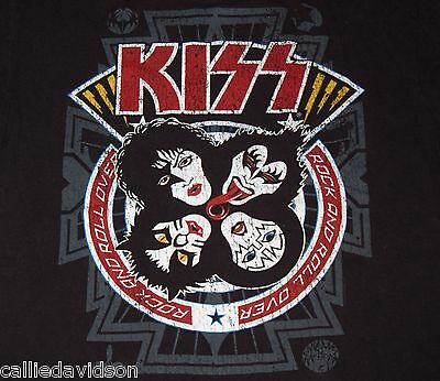 KISS Rock And Roll Over Distressed Cover Art Retro 2011 T-Shirt Gene Ace Frehley