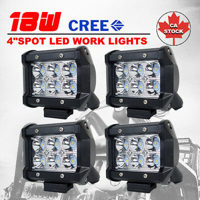 4pcs 4inch 18W Spot Beam CREE LED Work Light Bar Offroad Truck Trailer 4WD Lamps