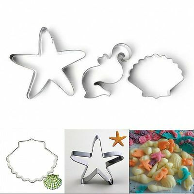DIY Ocean Seahorse Shell Cookie Cake Cutter Mold Biscuit Pastry Baking Mould Hot