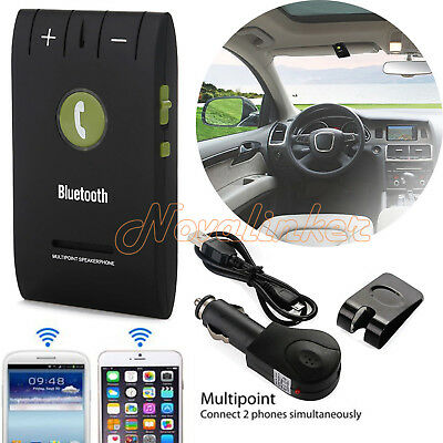 Wireless Bluetooth 4.0 Handsfree Car Kit Speaker Music Player Clip Visor WHITE