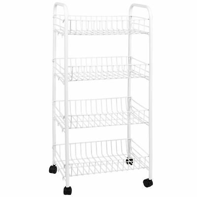 4 TIER STORAGE TROLLEY Cart Portable Stand Fruit Vegetable White Chrome Kitchen