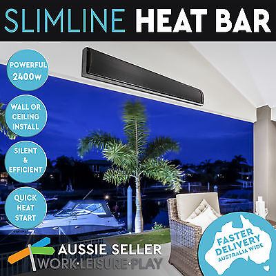 NEW Electric Outdoor Home 2400W Heater Radiant Slim line Heat Bar Panel Strip