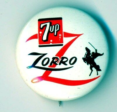 Disney's Zorro - Metal Pin Back Button - With 7up Logo - 1957