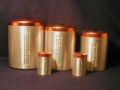 Vintage Kitchen Canisters Salt Pepper Spun Aluminum Copper Colored Tops Italy