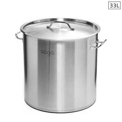 New 33Lt Top Grade Thick Stainless Steel SOGA Stock Pot 35CM 18/10 RRP $285