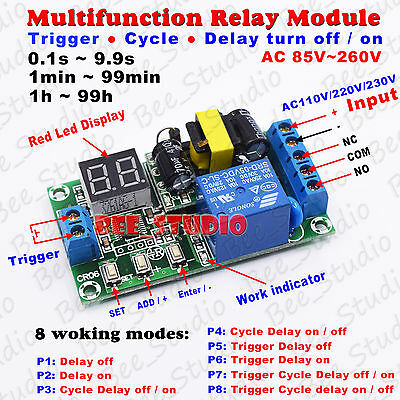 AC 110V 220V 230V Digital LED Cycle Delay turn ON/OFF Switch Timer Relay Module