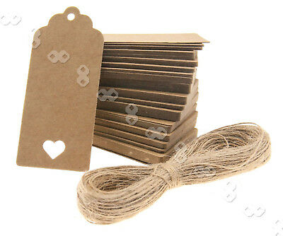 100pcs Brown Strings Heart Kraft Paper Hang Tags Gift Price Lables 9 x 4CM
