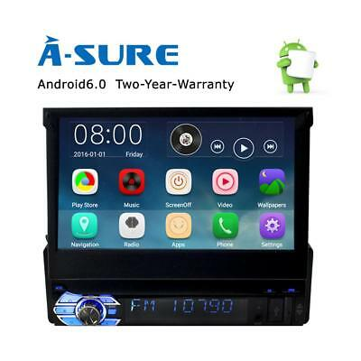 Single 1 DIN Android 6.0 Car DAB+ Player Stereo Radio Motorized GPS Sat Nav WIFI