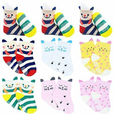 Ruwen 6 Pairs Non-Skid Kids Infant Baby Girl Toddler Socks Anti Slip Cotton Stre