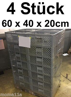 4 x Plastic Box Large Auer Transport Stackable Grid Storage lagerbox