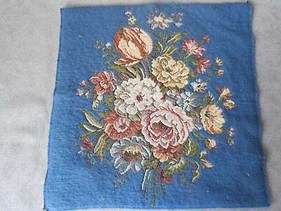 VINTAGE italian BLUE FLORAL TAPESTRY  BOUQUET