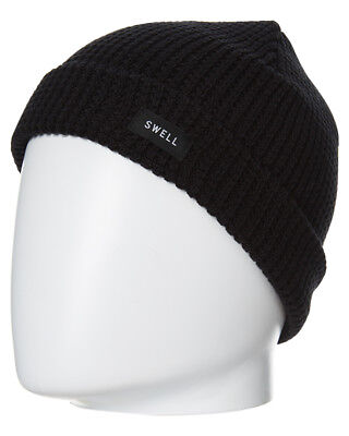 New Swell Boys Kids Beanie Fitted Acrylic Black