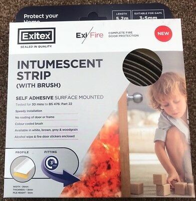 Surface Mounted Intumescent Strips 1 Set Brown Exitex Fire & Smoke Door Seals