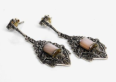 "1-3/4"" Art Deco NF Sterling Silver Pink MOP Drop Dangle Post Earrings"