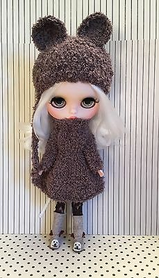 Blythe Doll Outfit-Knitted In Teddy Yarn Oversized Handmade Dress And Bear  Hat