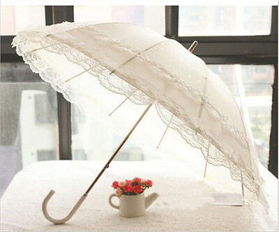 Creative UV Protection Long Umbrella Double Lace Women Parasol Sun Rain