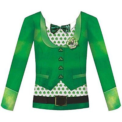 Amscan Womens St. Patricks Day Bowtie Long Sleeve Dye Sub Shirt 1 Piece, Green