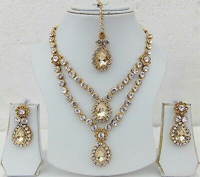 4 pc Indian Bollywood Style Wedding Bridal Fashion Jewelry Necklace Earrings Set