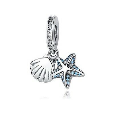 S925 Silver EURO Tropical Starfish & Sea Shell Dangle Charm - FREE Pandora Cloth