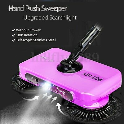 Spin Rotating Hand Push Sweeper Broom Household Cleaning No Electricity W/Light