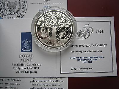Cyprus 1995 1£ pound silver Proof coin United Nations 50th Anniversary COA info