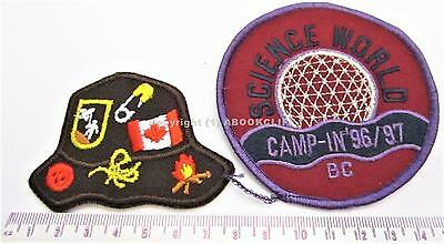 BOY SCOUTS SCIENCE WORLD CAMP-IN '96/97 B.C. Canada & HAT Patches Mint