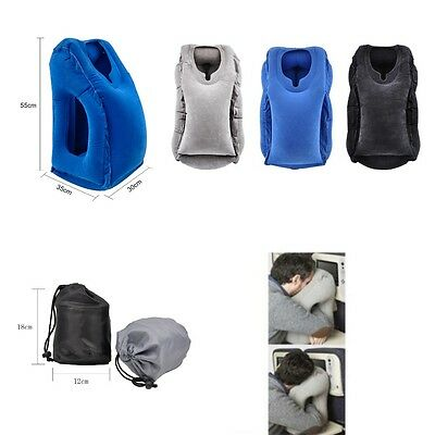 AU Pillow Neck Inflatable Travel Cushion Air Head Support Nap Rest Airplane Chin