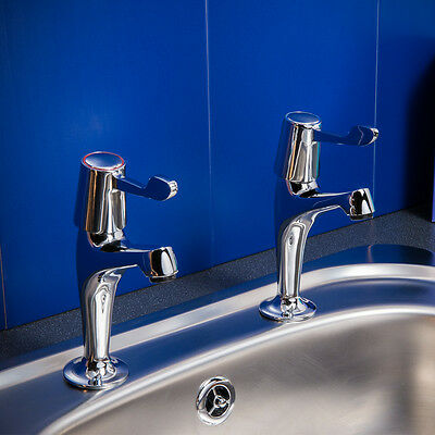 Classic Traditional Brass Chrome Lever Tall Kitchen Sink Taps - 10Yr Guarantee