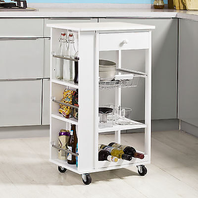SoBuy Kitchen Trolley Cart with Side Shelves Removable Basket, FKW12-W, White,UK