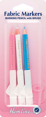 Hemline - Dressmaker Pencils with Brush. Tailors Fabric Markers pack of 3 colour