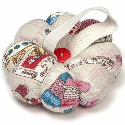 Flower Shaped Quality Pin Cushion in Notions Fabric. Elastic Wrist Strap