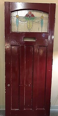 Antique English Art Deco Stained Glass Red Entry Door