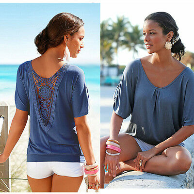 Women Casual Loose Round Neck Short Sleeve Lace Crochet Back Tops T-shirt Blouse